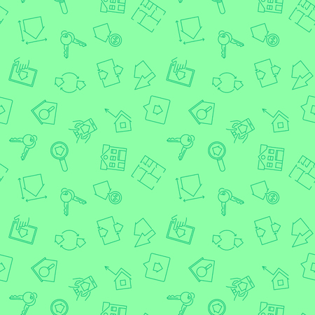 Real Estate green vector pattern. Seamless background