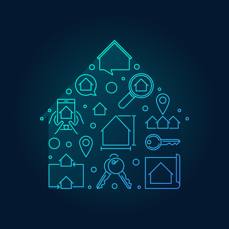 House blue vector shape made with outline icons