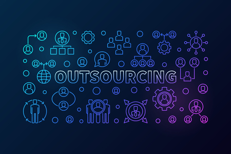 Outsourcing horizontal colored illustration - vector banner Illustration
