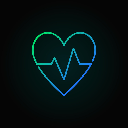 Heartbeat vector blue icon. Heart rate minimal symbol or logo
