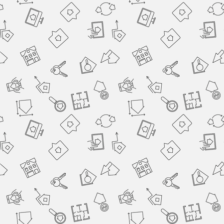 Real Estate vector seamless pattern in thin line style