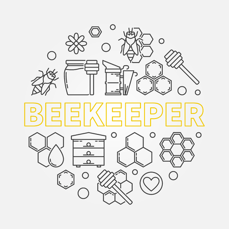 Beekeeper vector round illustration in outline style Vettoriali