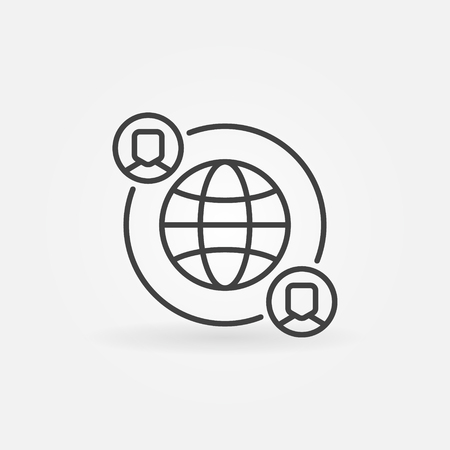 Outsourcing vector icon made with earth and people in thin line style