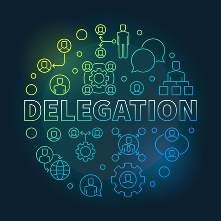 Delegation round colored vector thin line illustration