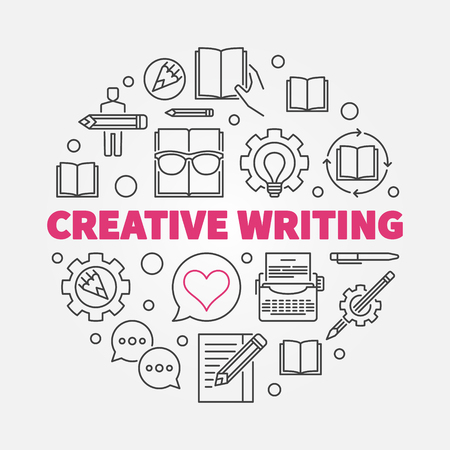 Creative writing vector round concept line illustration