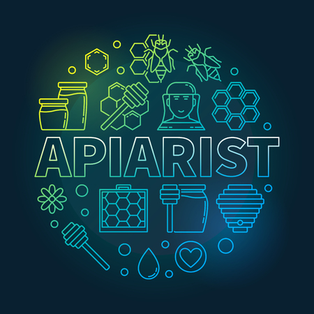 Apiarist vector colored round outline illustration