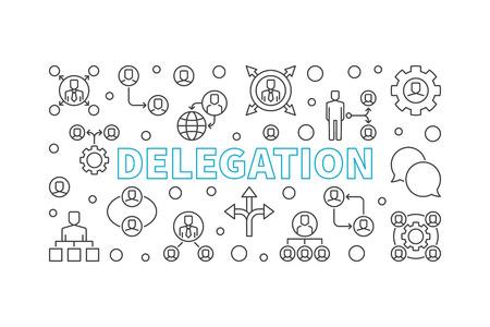 Illustration horizontale de la délégation. Bannière de fine ligne de vecteur