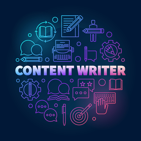 Content writer vector colored round line illustration