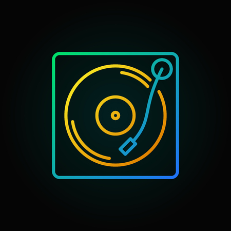 Turntable vector colored icon in thin line style. Player for vinyl records concept sign on dark background Banque d'images - 105327434