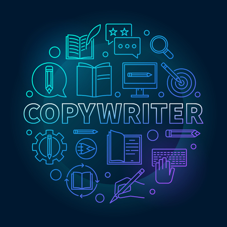 Copywriter vector blue round illustration in line style