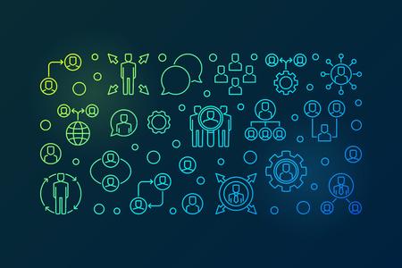 Outsourcing vector creative outline banner or illustration
