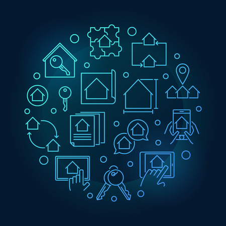 Real Estate blue thin line vector circular illustration