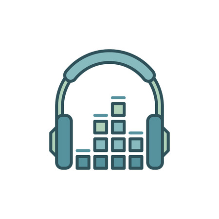 Headphone with sound equalizer vector icon or design element