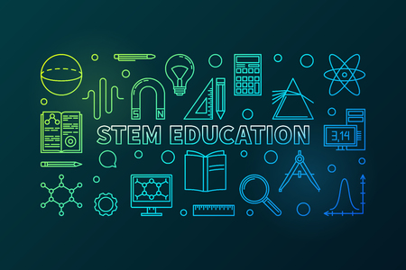 STEM Education vector colored horizontal banner in linear style - science, technology, engineering and mathematics concept illustration on dark background Illustration