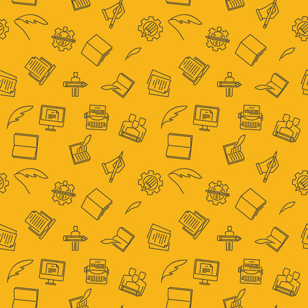 Copywriting and Rewriting vector yellow seamless pattern Illustration