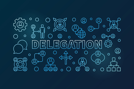Delegation blue horizontal illustration - vector banner