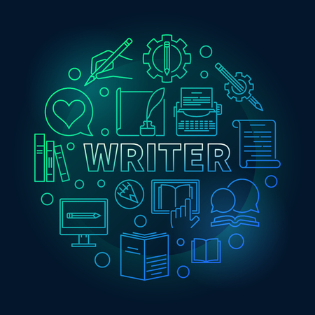 Writer vector colored round linear illustration