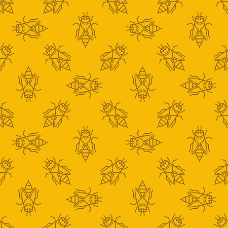 Bee yellow linear vector seamless pattern or background