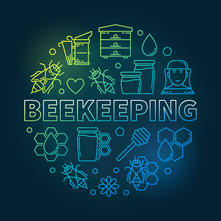 Beekeeping round vector creative illustration in line style