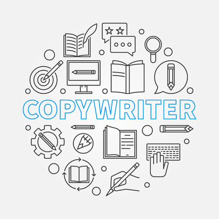 Copywriter vector round illustration made with line icons