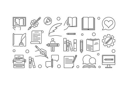Writer vector linear horizontal banner or illustration Stock Illustratie