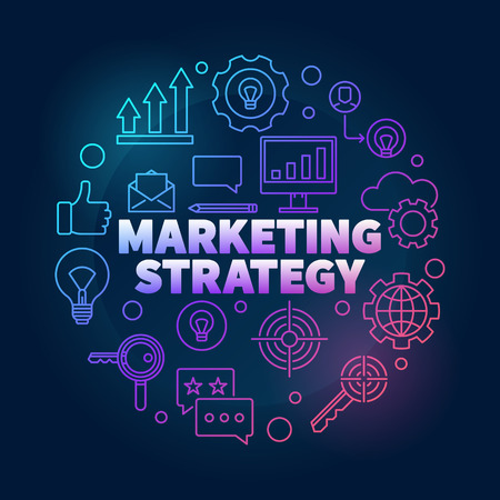 Marketing Strategy vector colorful illustration in thin line sty
