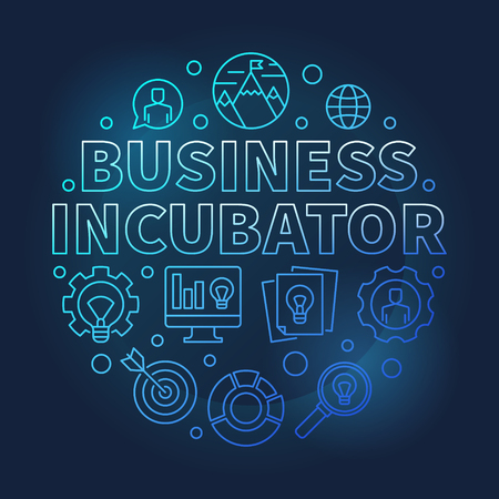 Business Incubator round blue vector outline illustration