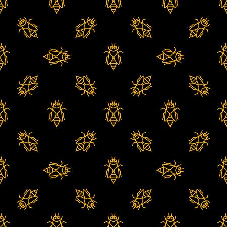 Bee vector dark seamless pattern in thin line style Illustration