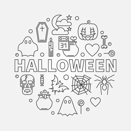Halloween vector circular Holiday illustration in thin line style Illusztráció