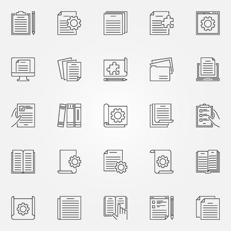 Technical documentation vector outline concept icons set