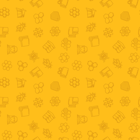 Beekeeping vector yellow seamless pattern or background in thin line style Vettoriali