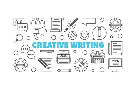 Bannière horizontale minimale de ligne de vecteur d'écriture créative Vecteurs