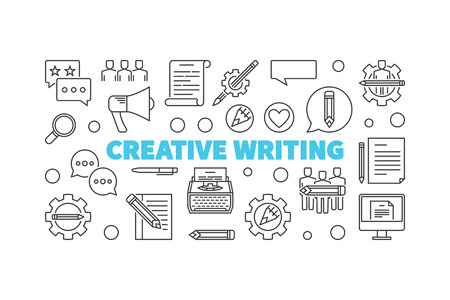 Creative writing vector line minimal horizontal banner Illustration