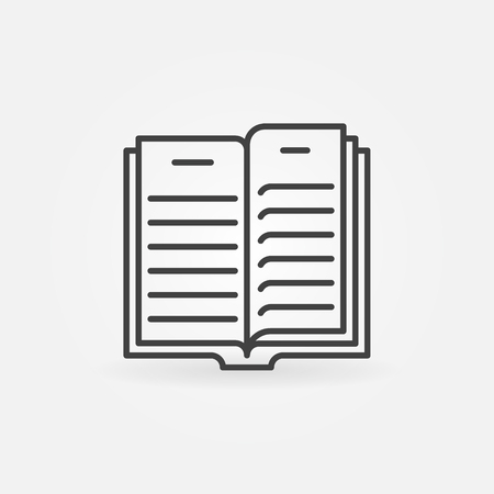 Open Book outline icon - vector book concept symbol or logo
