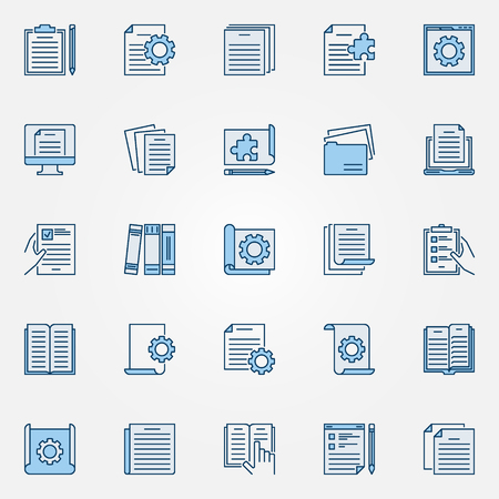 Technical documentation blue icons set - vector document signs