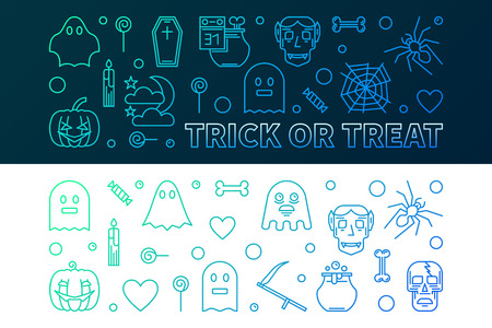 Halloween colorful banners. Vector concept horizontal 31 oct Holiday illustration in thin line style Illustration