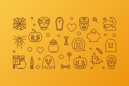 Halloween concept vector creative line horizontal banner