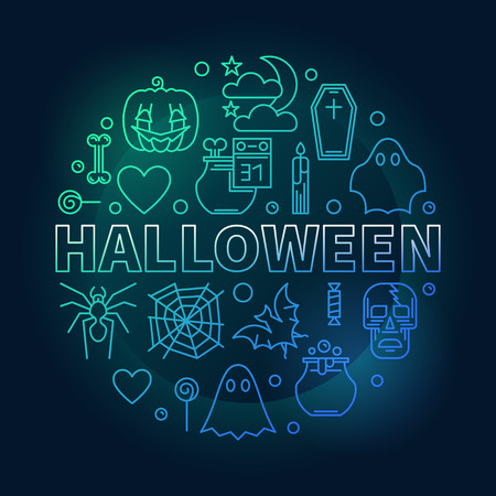 Halloween vector creative round Holiday illustration in outline style on dark background