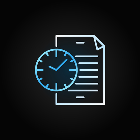 Document with blue clock icon. Vector file with time sign Çizim