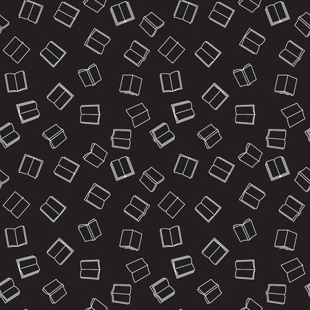 Books vector dark outline seamless pattern Vecteurs