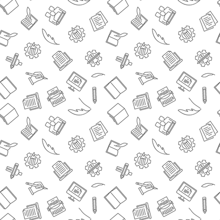 Copywriting and Blogging vector seamless pattern Illustration