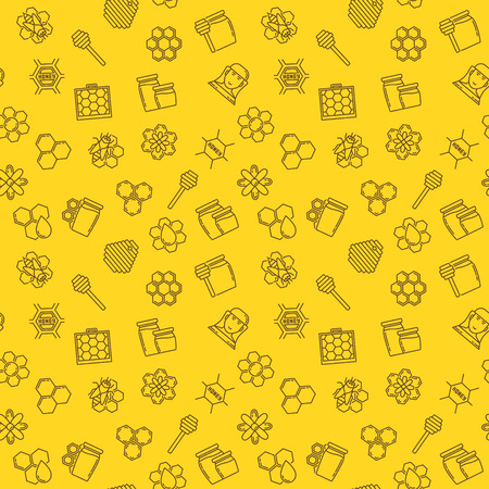 Honey and beekeeping vector seamless pattern or background in thin line style
