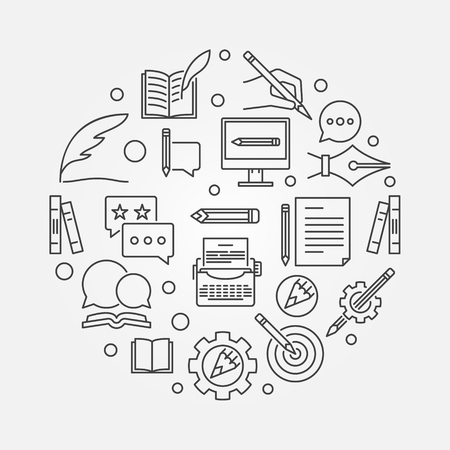 Author vector round concept illustration in outline style Illustration