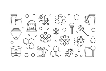 Beekeeping vector outline horizontal illustration or banner