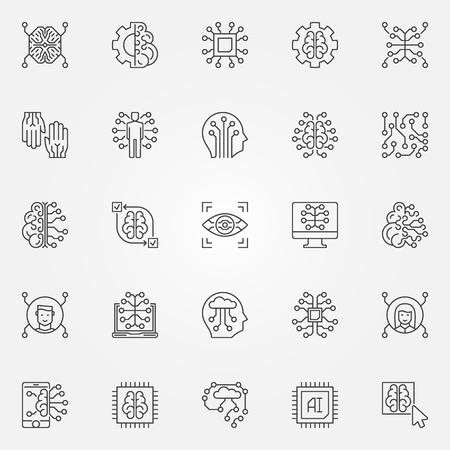 Conjunto de iconos de contorno de inteligencia artificial. Símbolos de tecnología AI Ilustración de vector