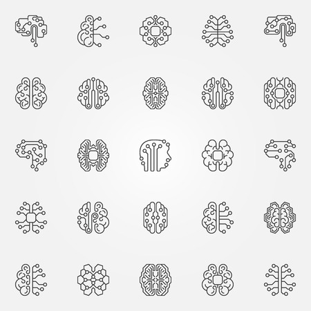 Digital Brain outline icons set. Cyberbrain vector line symbols