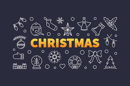 Christmas vector outline horizontal illustration or banner Illusztráció