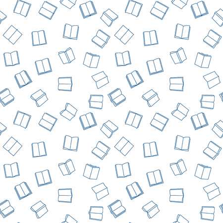 Books vector minimal seamless pattern in outline style