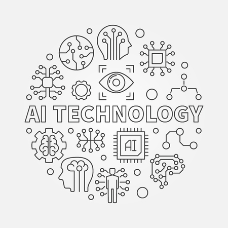 AI technology round vector concept outline illustration