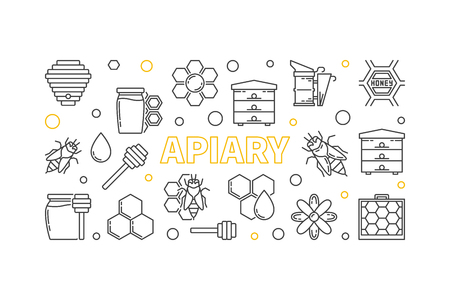 Apiary and beekeeping vector outline horizontal illustration